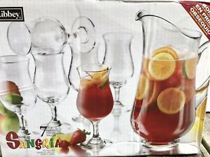 Libbey 7 Piece SANGRIA Serving Set Glasses Pitcher Recipes Made in USA New