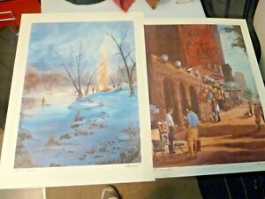 Watercolorist Tom Lynch 2 Signed Lithographs of Chicago $99.00