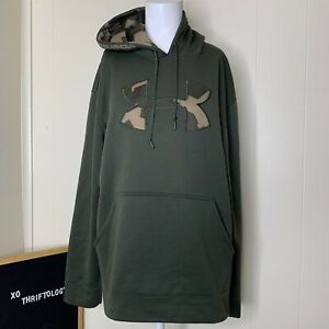 Under Armour Army Green Camo Print Camouflage Pullover Hoodie Mens Medium M $19.99
