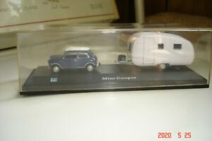 Vintage Hongwell Classic Mini Cooper White Roof Diecast Car With Camp Trailer