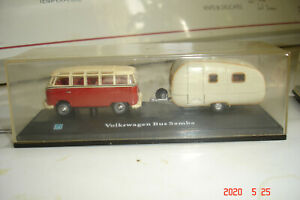 Vintage Hongwell Volkswagen Bus With Camp Trailer Die Cast Car In Plastic Case
