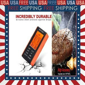 Upgraded Wireless Remote Meat Thermometer for Grilling w/4 Probes Digital Read