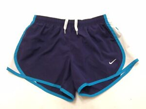 Nike Girl's Dri Fit Athletic Running Shorts Lined Dark Blue & Teal Size M $7.00