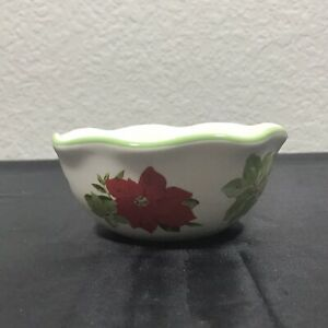 The Pioneer Woman POINSETTIA Measuring Bowl 1 Cup Green Rim Floral Print $7.25