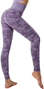 SotRong Women Hight Waist Yoga Pants Camouflage Patterned Gym Leggings Butt Push