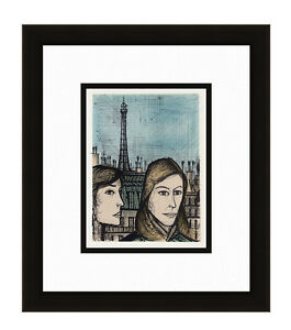 BERNARD BUFFET 1967 Color Lithograph quot;Adventurous Parisiansquot; Gallery Framed COA $137.00