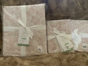 3pc Pottery Barn Vanessa King Duvet Cover Standard Shams Soft Rose Pink Blush