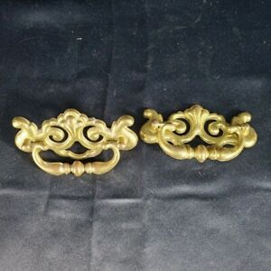 Lot 2 Vtg Metal Drop Swing Handle Drawer Pulls Gold Plated Patina 4.75 X 2.75quot; $7.98