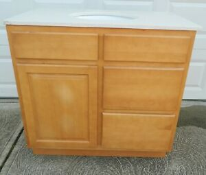 """36"""" Vanity Cabinet and White Speckled Granite Sink Top for Bathroom"""