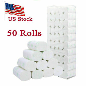 White Roll Paper Bathroom Household Tissue 5Ply 50-Rolls US Fast Shipping