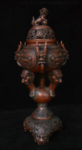 Old China Bronze Feng shui Dragon Lin Beast Head Incense Burner Censer Incensory