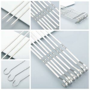 20x Skewers Stainless Steel BBQ Skewers Barbecue Meat Kebab Shish 40*4.5*cm H@