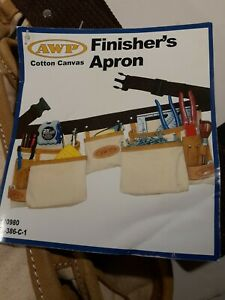 AWP Finisher's Apron Riveted 100% Canvas Cotton Tool Belt Pouch Pockets 32-45 in