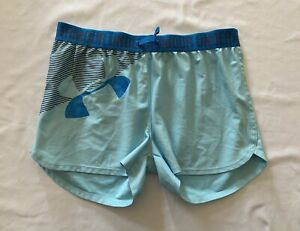 Under Armour UA Girl's Play Up Graphic Shorts Gym Running Blue Size Large $15.00