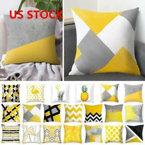Yellow Polyester Pillow Case Sofa Home Decoration Car Waist Throw Cushion Covers