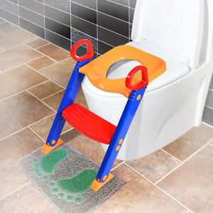 Training Kids Toilet Potty Trainer Seat Chair Toddler W Ladder Step Up New Stool $18.99
