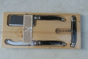 Laguiole WINE & CHEESE KNIFE SET 3 PC FORK CLEAVER CORKSCREW Black SS NEW FRANCE