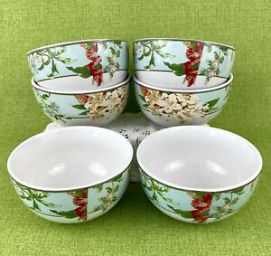 Waverly Cottage Garden Soup/Cereal Bowls Set of 6 Fawn Hill Print Floral Border