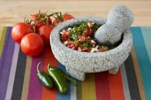 Imusa Granite Mexican Molcajete 8 Inch Mortar and Pestle Kitchen Spice Grinder