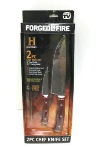 FORGED IN FIRE 2 Piece Knives Set -Stainless Steel Chef & Paring Kitchen Knife