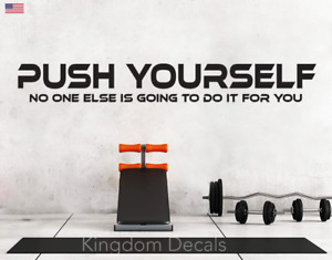 Push Yourself Gym Exercise Motivational Wall Sticker Vinyl Art Decal Removable