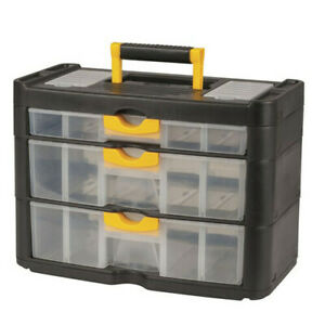 TechBrands Portable Storage Box with 3 Drawers for Parts and Mini Tools