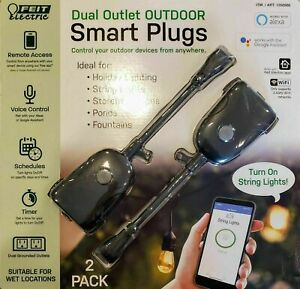 Feit Wi-Fi Smart Plug Dual Outlet Outdoor Smart Plug 2-pack ~Brand New