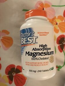 Doctor's Best Magnesium, High Absorption Magnesium 100% Chelated 240 Tablets