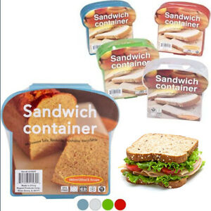 4 Pack Sandwich Container Lunch Box Packer Fresh Reusable Food Storage Kid Adult