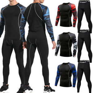Mens Compression Suit Thermal Base Layer Pants Gym Workout Cool Dry T Shirt Sets $26.78