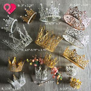 Crown Tiara Headpiece Royal King Queen Princess Wedding Party Pearl Rhinestone $11.99