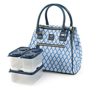 Arctic Zone Dabney Lee Insulated Lunch Tote w 6 Piece Container Blue Diamond