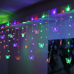 95 Butterfly LED String Curtain Lights Colorful Wedding Children Room Decor Lamp $12.08