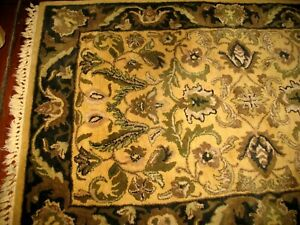 Vintage Hand Tufted Made In India Wool Area Rug 3.6' x 5.6' Black Gold Tan