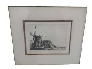 19th Century Windmill Restrike by Rembrandt Authenticated  $260.00