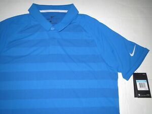 Men's Nike Dri Fit Zonal Cooling Golf Polo Shirt Blue Medium MSRP $75.00 **NEW** $39.95