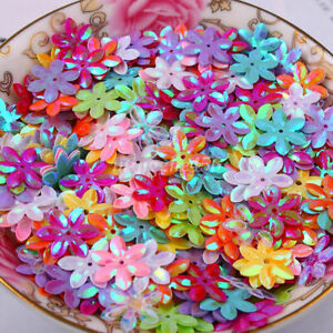 DIY 13mm 150Pcs Shiny Flowers Loose Sequins Paillettes Sewing Kids Stage Costume $1.19