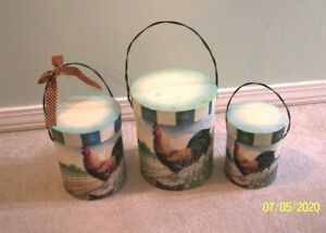 ROOSTER NESTING SET OF 3 REALLY CUTE WITH HANDLES.........