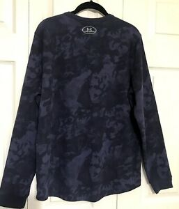 Under Armor Cold Gear Women's Pullover Navy Thermal Size M Loose Fit Logo Top $18.99