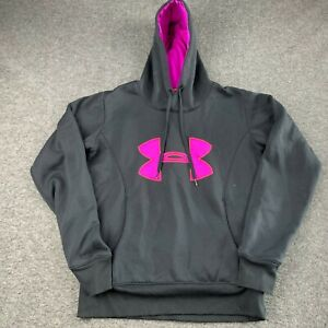 UNDER ARMOUR WOMEN SIZE SMALL SEMI FITTED COLD GEAR BLACK HOODIE SWEATSHIRT EUC $10.39