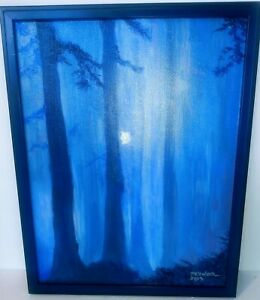 Oil On Canvas Forest@Night With Moonlight In Distance Signed M.Hiembeck