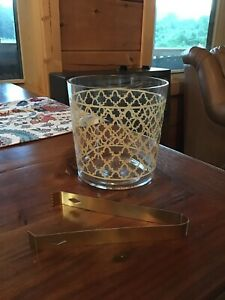 Ice Bucket With Gold Design And Gold Tongs $7.99
