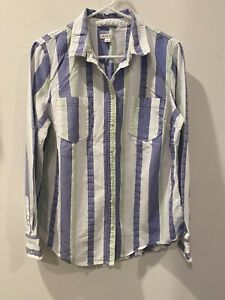 Merona Target Blue Green and White Striped Button Down Shirt, Women's Large