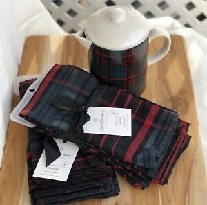 Rare Target Exclusive Holiday 8 Napkins Plaid Coffee Pot Set Magnolia Christmas