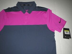 Men's Nike Dri Fit Golf Polo Shirt Gray & Pink Size Small MSRP $65.00 **NEW** $34.95