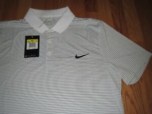 Men's Nike Dri Fit Golf Polo Shirt White & Gray Size Small MSRP $60.00 **NEW** $34.45
