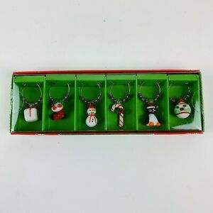 Pier 1 Imports Wine Glass Drink Charms Christmas Holiday Theme Set of 6 New