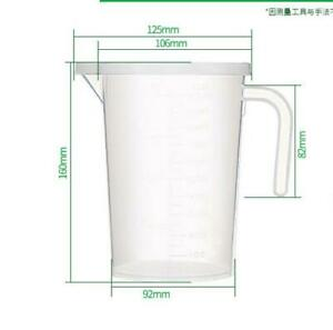 1000ml Transparent PP Resin Measuring Cup with Handle and Lid for Kitchen or
