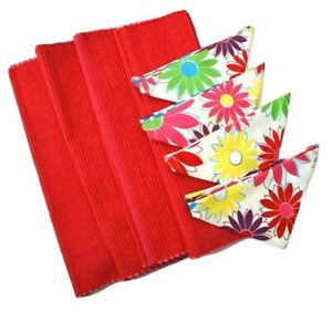 Whim Cynthia Rowley Target Pink Red Floral 4 Placemat Napkin Set NEW 2008 disc.