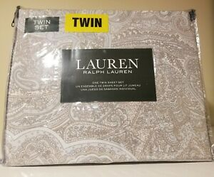 RALPH LAUREN 3PC Twin Sheet Set Flowers Meadow White Tan Gray Floral